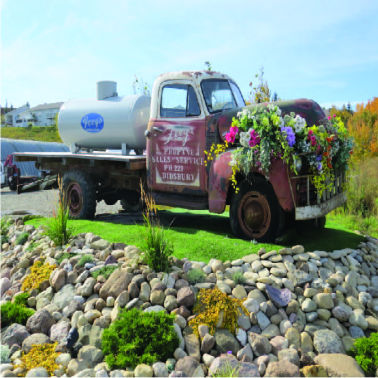 Old propane truck re-purposed as a flower bed